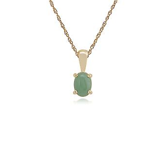Classic Oval Green Jade Single Stone Pendant Necklace in 9ct Yellow Gold 10733