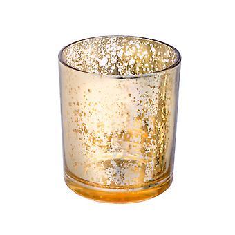 Single Large Gold Mercury Glass Votive Candle Holder Holder