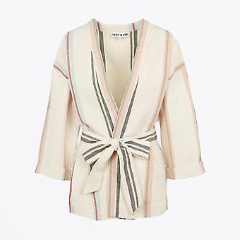 Teoh & Lea - Striped Belted Kimono Coat - Ecru