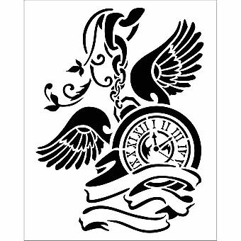 Stamperia Thick Stencil Pendulum Clock with Wings