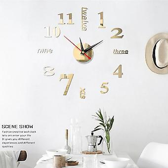 3d Diy Acrylic Mirror Wall Clock Sticker