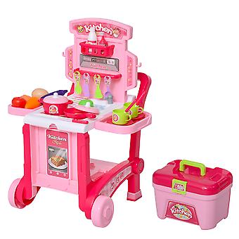 HOMCOM 42 Pcs Pretend Kitchen Playset Child Role Playing Game with Many Accessories Food Cook Set Boys and Girls Gift Pink