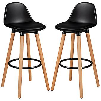 2Pcs Bar Stools Counter Breakfast Dining High Chair w/PU Seat&Footrest Home Bar