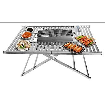 portable Bbq Charcoal Grill Folding Table Grill Camping Storage Aluminum Collapsible Outdoor Table