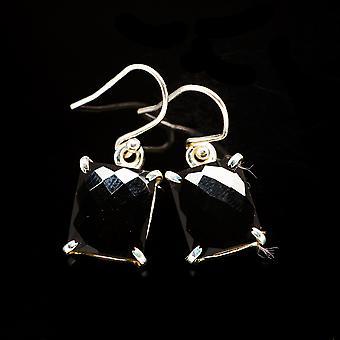 """Black Onyx Earrings 1 1/8"""" (925 Sterling Silver)  - Handmade Boho Vintage Jewelry EARR405840"""