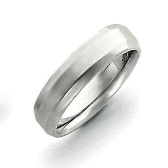 14 k oro blanco 6mm pulido Bisel borde anillo de bodas anillo - tamaño del anillo: 5 a 12