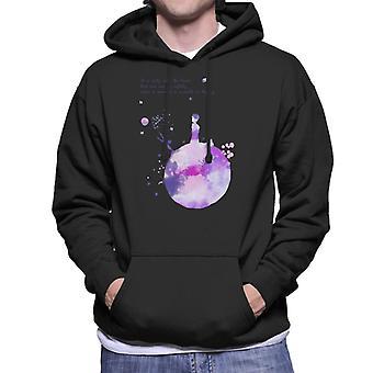 The Little Prince Purples Paint Effect Heart Quote Men's Hooded Sweatshirt