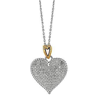 925 Sterling Silber 14 k Gold geblitzt Gold Rhodium Kette Halskette Liebe Herz 0,32 ct weiß Diamant 18 Zoll Schmuck Geschenke f