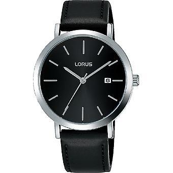 Lorus Mens Dress Watch Sunray Black Dial & Silver Baton Hour Markers (RH935JX9)