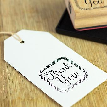 Square THANK YOU Rubber Stamp | Craft Scrapbooking Handmade Gift Tags Cards