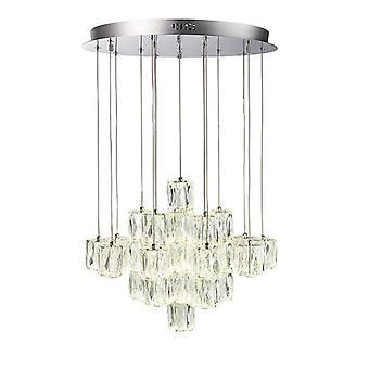 Integrierte LED-Anhänger Chrom Effekt Platte & Kristall (K9) Glas Detail 30 Licht IP20