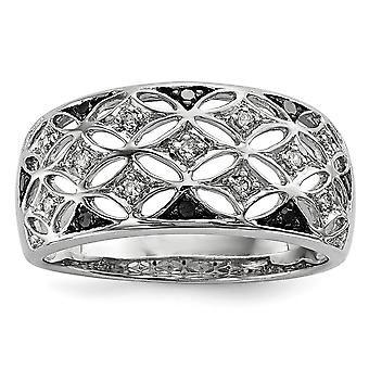 925 Sterling Silver Rhodium Plated Back and White Diamond Ring Jewelry Gifts for Women - Ring Size: 6 to 8