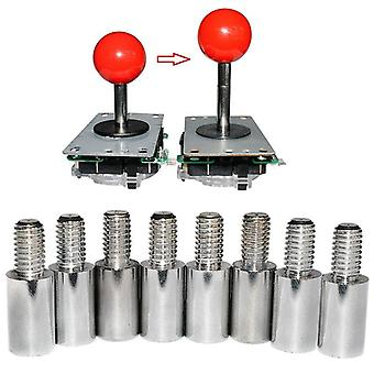 8pcs Chrome Arcade Joystick- Shaft Extender 15mm Extension Rod For Sanwa