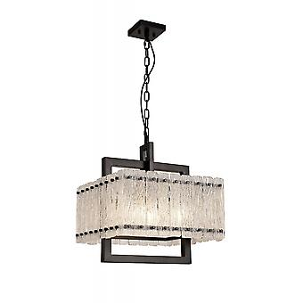 Grace Large Square Pendant, 5 Light E27, Matt Black/crystal Sand Glass