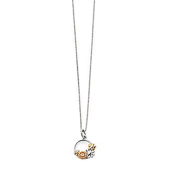 D for Diamond 925 Sterling Silver & Gold Plate Floral Diamond Pendant Necklace of Length 35.5cm