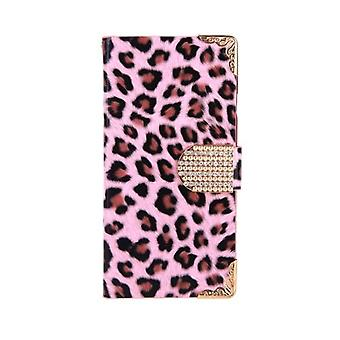 Moderigtigt Tegnebog Leopard Sag Flip Læder Cover med kortholder / rem til Apple iPhone 6 Pink