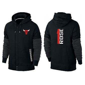 Chicago Bulls Rose Knappet lynlås sport hætteklædte løs sweatshirt sportstøj WT011