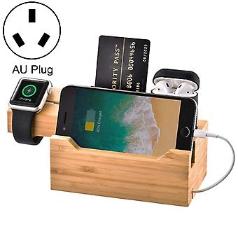 Multifunctioneel Bamboo Charging Station Charger Stand Management Base met 3 USB-poorten, voor Apple Watch, AirPods, iPhone, AU Plug