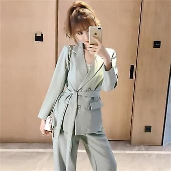 Autumn Winter  Women Lace Up Pant Suit, Notched Blazer Jacket, Office Wear
