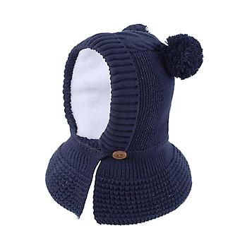 Toddler Infant,, Winter Warm Hat, Cute Thick Earflap Hood Scraves With Pom-pom