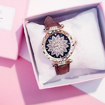 Naiset Starry Sky Watch Luxury Rose, Kulta, Timantti nahka kvartsi Rannekello