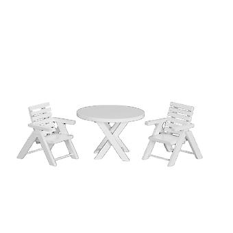 Dolls House White Wooden Table & Chairs Miniature Garden Patio Furniture