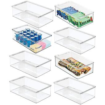 mDesign Set of 8 Fridge Storage Box — Fridge and Freezer Container with Lid