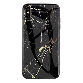 Huawei P20 Lite Marmor Mønster Cover - Sort og guld