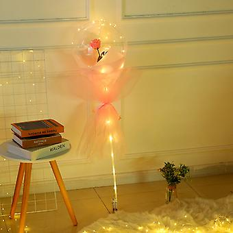 Rose Balloon Bouquet LED Luminous Transparent Ball Rose Valentines Day Gift Birthday Party Wedding Decoration Balloons