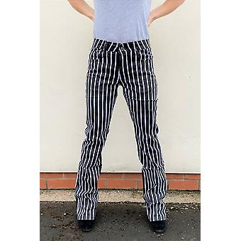 Striped Bootcut Flared Trousers - Black & White