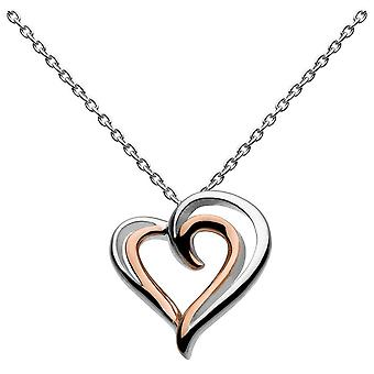 Dew Silver Heart Strands With Rose Gold Plate Pendant 98028RG016