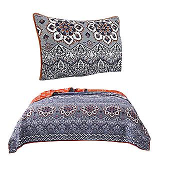 Thelon 2 Piece Twin Size Fabric Quilt Set With Damask Prints, Gray And Orange