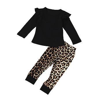 Cute Leopard O-Neck cu mânecă lungă Topuri Pantaloni Haine