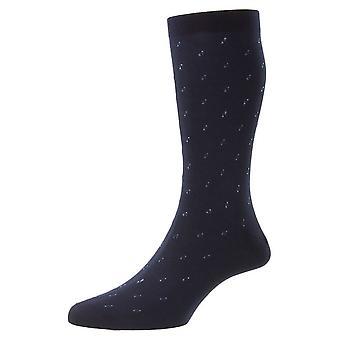 Pantherella Addison Neat Motif e Spiral Fil D'Ecosse Socks - Marinha