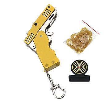 Mini folde elastik pistol, kan holde nøglering, lavet alle metal kanoner