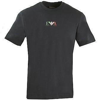 Emporio Armani EA Italian Flag Logo Navy T-Shirt