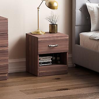Riano 1 Drawer Bedside Chest Cabinet, Walnut