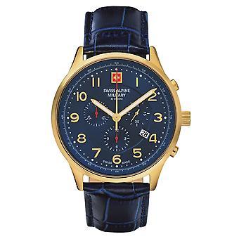 Reloj militar alpino suizo Cronógrafo analógico cuarzo 7084.9515SAM cuero