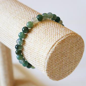 Bracelet En Agate Mousse – Perles 6mm