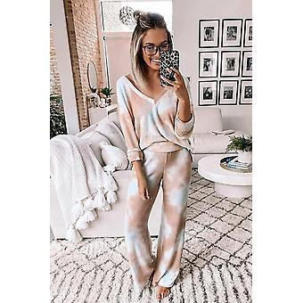 Multicolor Deep V-neck Dropped Shoulder Tie-dye Pant Pajama Set