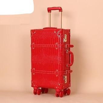 Women Password Suitcase Wheels Trolley
