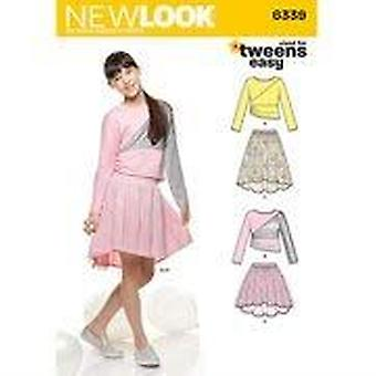 New Look Sewing Pattern 6339 Girls Skirts Knit Top Size 8-16 A