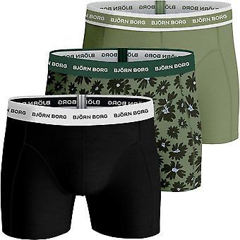 Bjorn Borg 3-Pack Fourflower Print & Solid Boxer Trunks, Khaki/Black