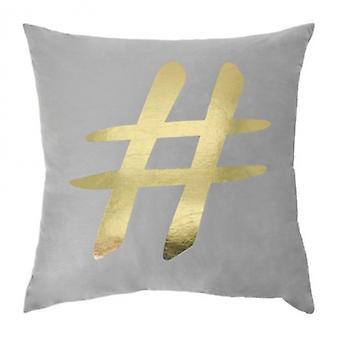 pillow hashtag 45 x 45 cm textile grey/gold