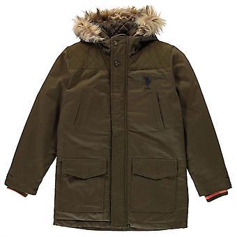 US Polo Assn Kids Parka Jacket Full Zip Long Sleeve Hooded Top Outerwear