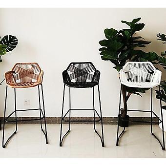 Modern High Feet Stool Rattan Chair