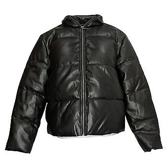 Du Jour Women's Faux Leather Zip-Front Puffer Jacket Black A374149