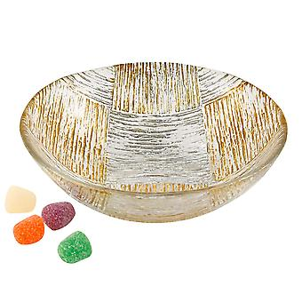 """Silver and  Gold Cubes Hand Decorated Glass 6"""" Bowl"""