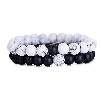 Musta & valkoinen onyx bead men's kaksiosainen rannekoru