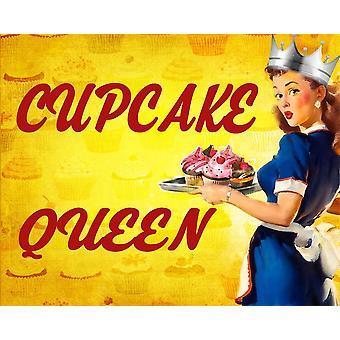 Vintage Metal Sign Pin Up Girl Cupcake Queen